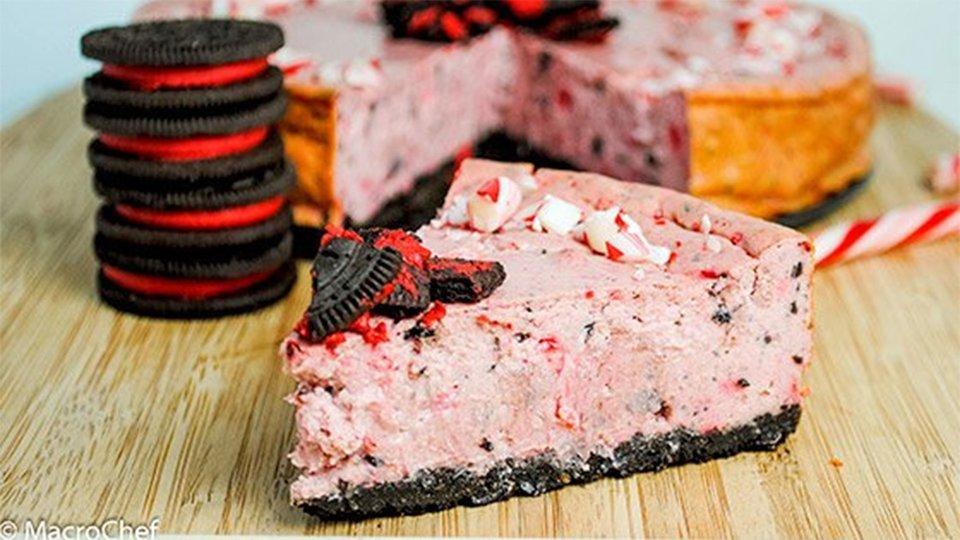 Peppermint Oreo Protein Cheesecake