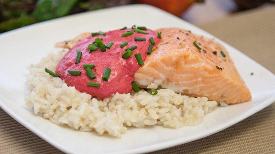 Salmon with Beet Cream