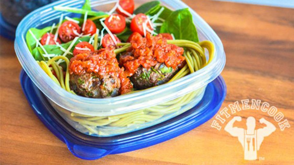 Lean Beef Spinach Meatball Pasta