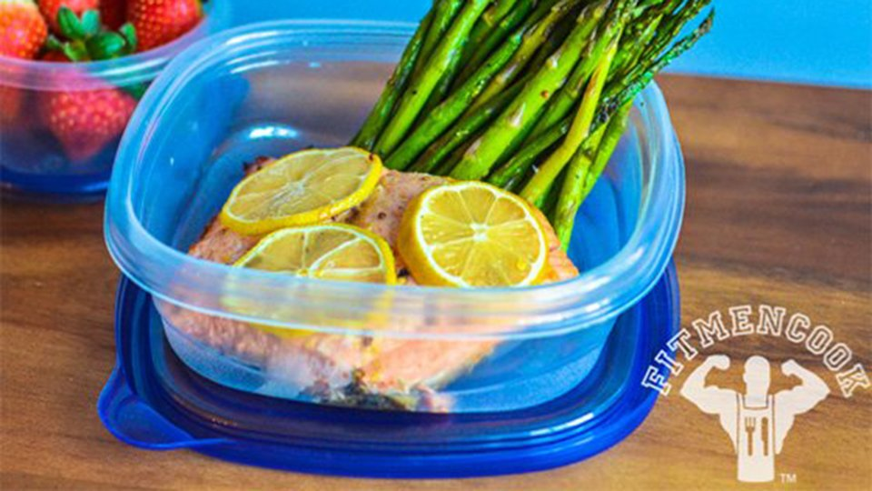 Mustard Baked Salmon with Grilled Asparagus