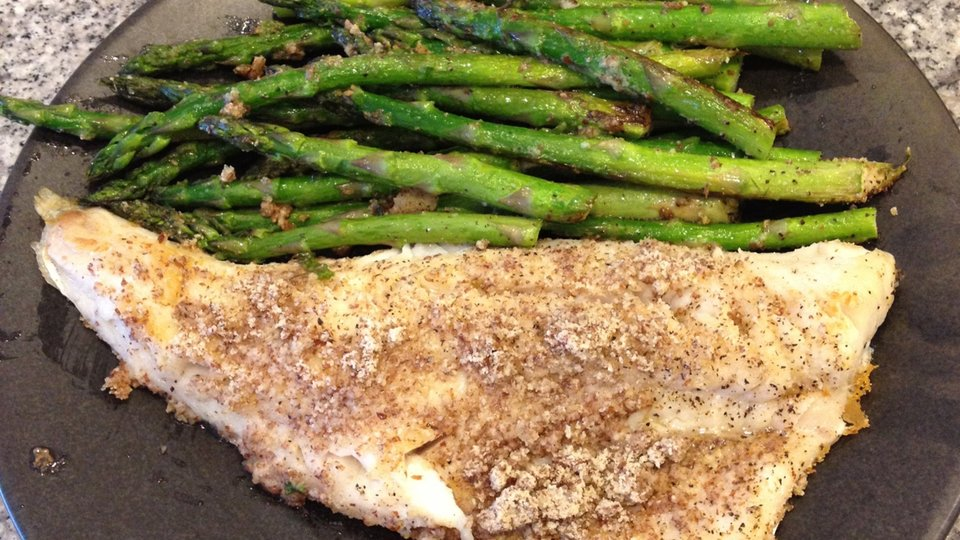 Almond-Crusted Walleye Pike And Asparagus