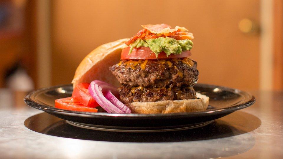 Cheddar Avocado Gains Burger