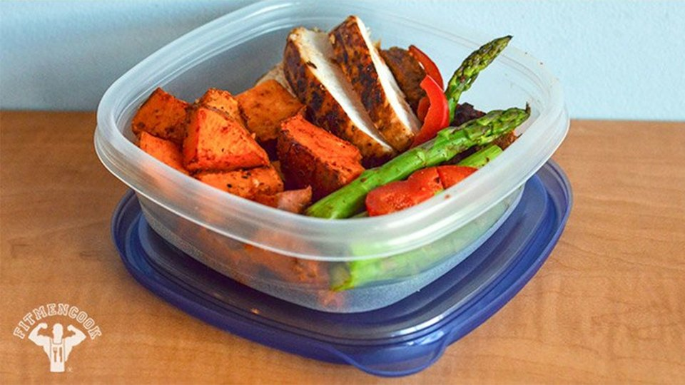 Grilled Chicken, Spicy Southwest Sweet Potato, Asparagus, And Bell Pepper Stir-Fry