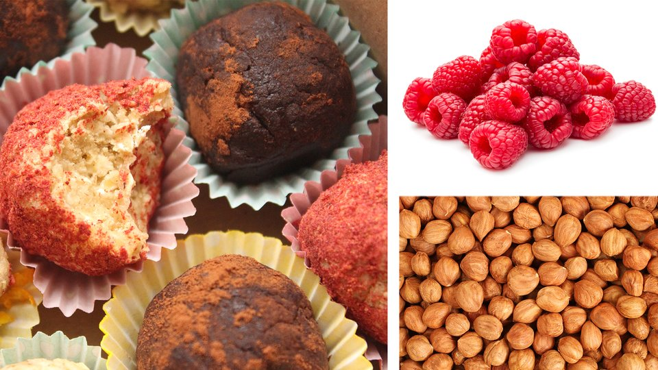 Raspberry And Hazelnut Protein Truffles