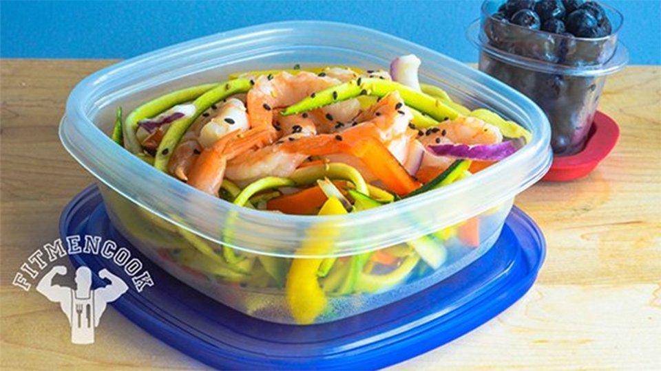 Sesame Tahini Shrimp And Zucchini Linguine Pasta Salad