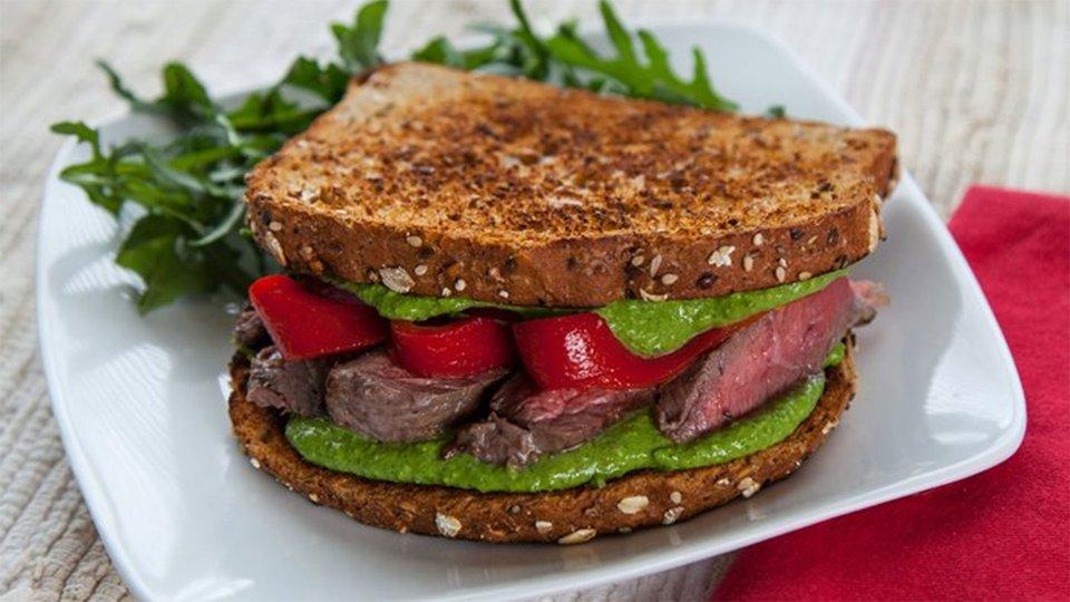Steak Sandwich With Hemp Pesto