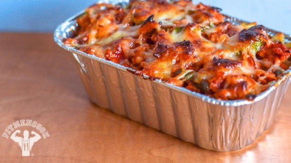 Turkey And Zucchini Quinoa Pasta Casserole With Mozzarella