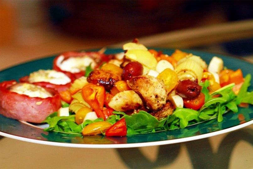 Antipasto Salad And Stuffed Mushrooms