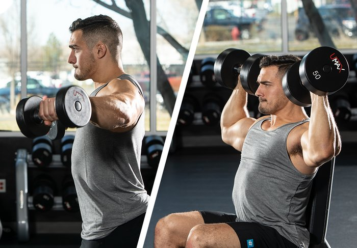 Brian DeCosta does a set of side lateral raises.