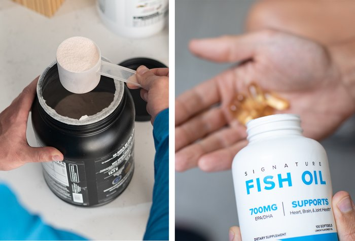 A bottle of supplement powder and fish oil capsules.