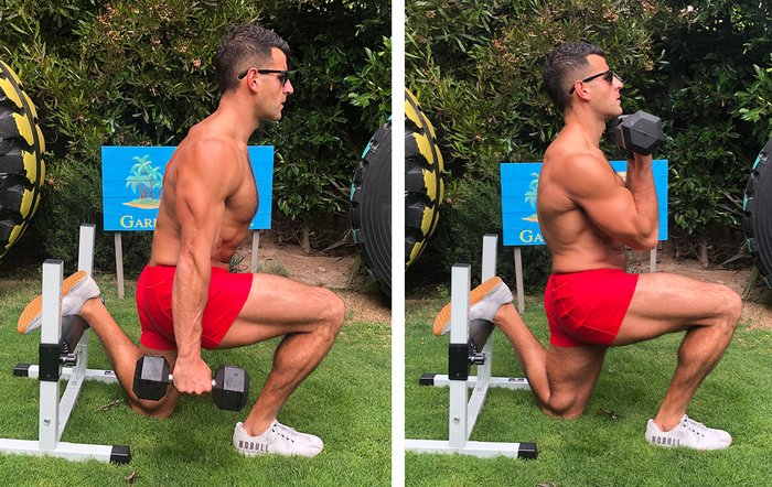 And second, you can hold the weights in two positions: hip or shoulder level.