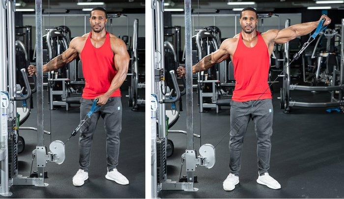 عند إجراء رفع جانبي للدمبل ، يشعر جسمك بالوزن ليكون أثقل عندما تكون الذراع موازية للأرض ، لأن ذراع الرافعة أطول هناك.