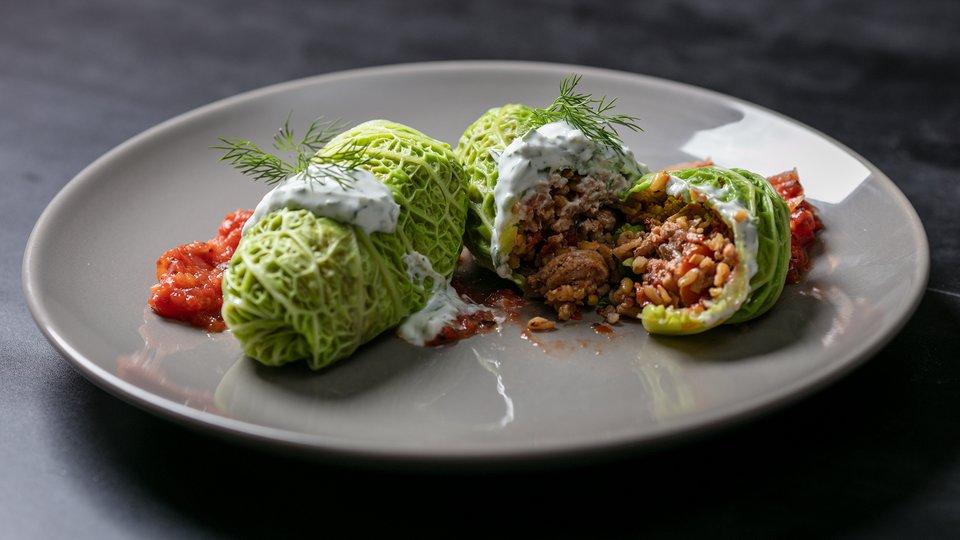 MetaBurn90 Turkey Freekeh Cabbage Roll in Tomato Sauce