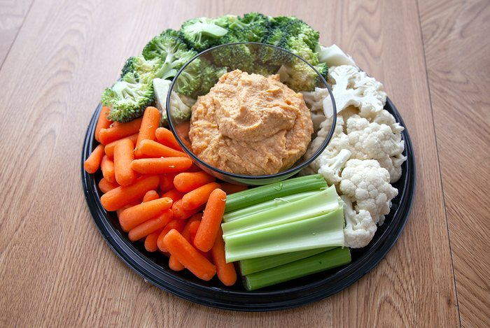 Vegetables and hummus.