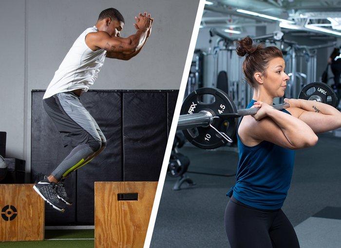 Box jump/ Barbell front squat
