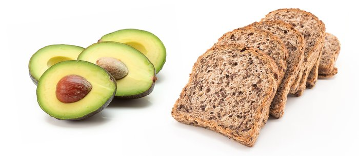 Avocados and whole-grain bread.