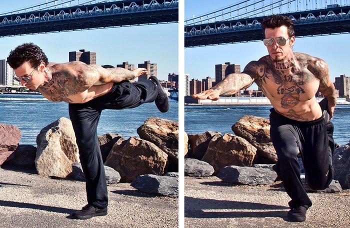 Danny Kavadlo performs a Single-Leg Squat with Single-Leg Deadlift