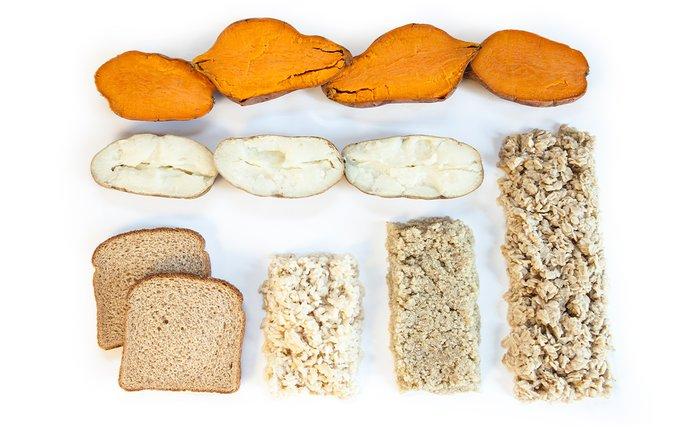 Sweet potatoes, white potatoes, bread, and oats.
