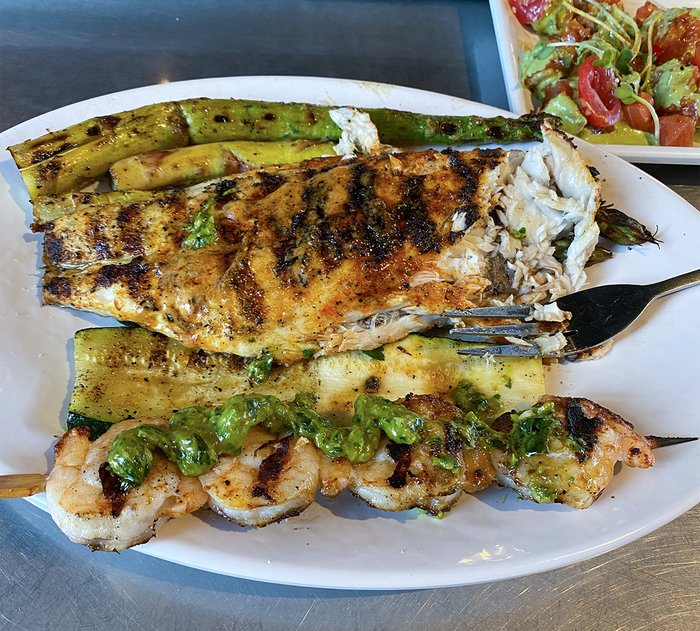 Grilled protein and veggies.