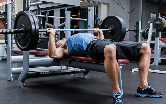 Preparing to perform a bench press.