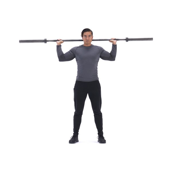 Standing Barbell Press Behind Neck thumbnail image