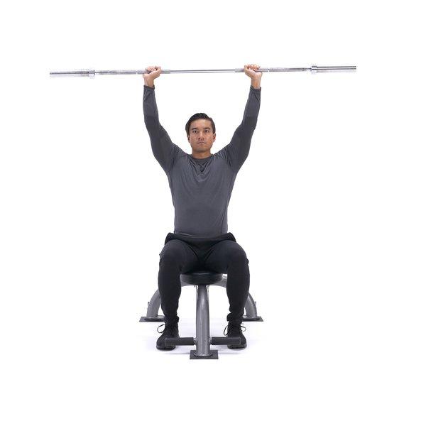 Seated barbell shoulder press thumbnail image
