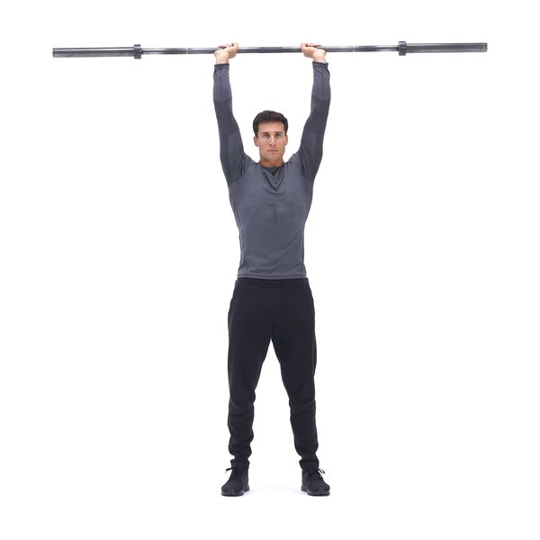 Standing barbell overhead triceps extension thumbnail image
