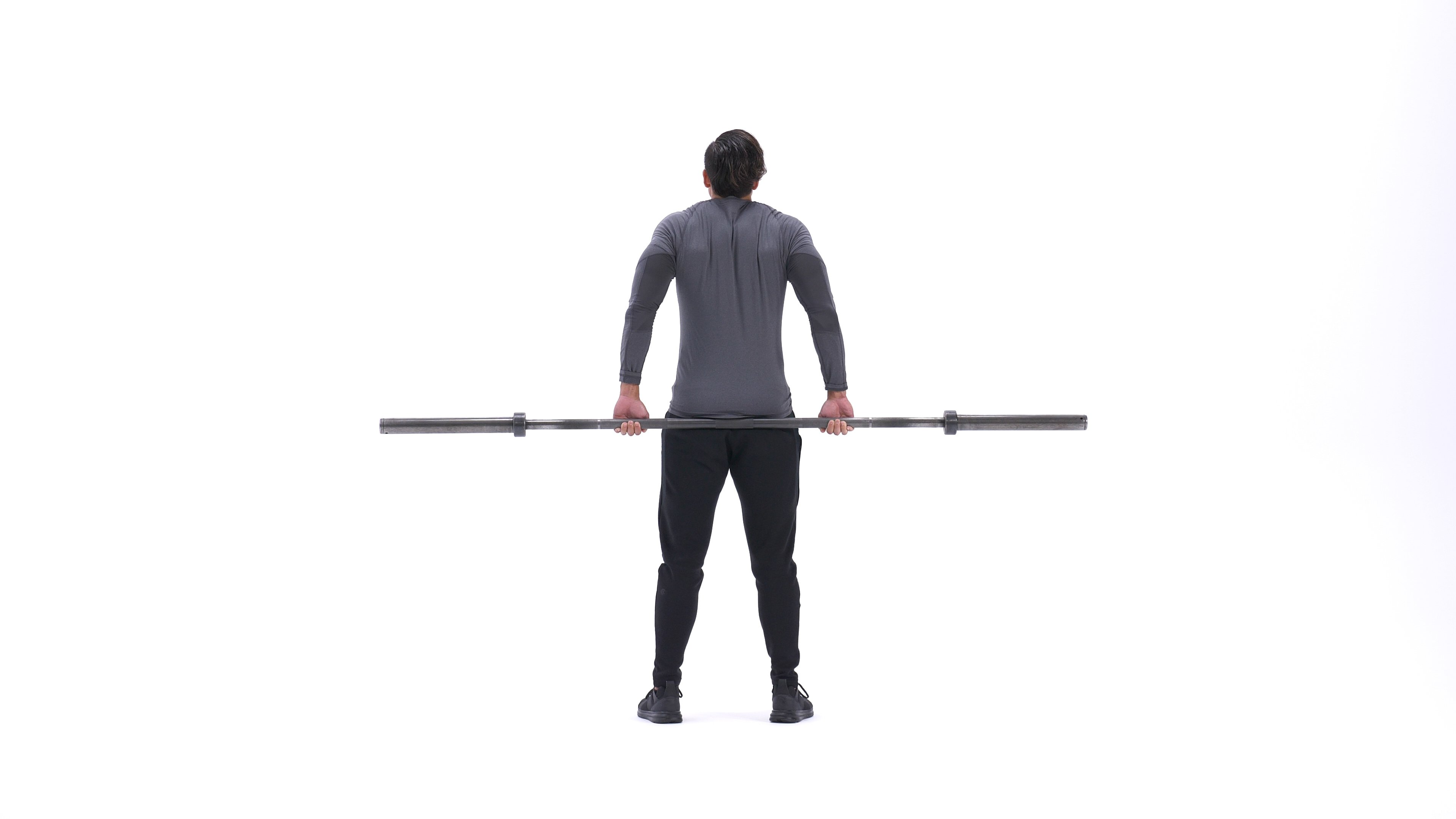 Barbell behind-the-back shrug image