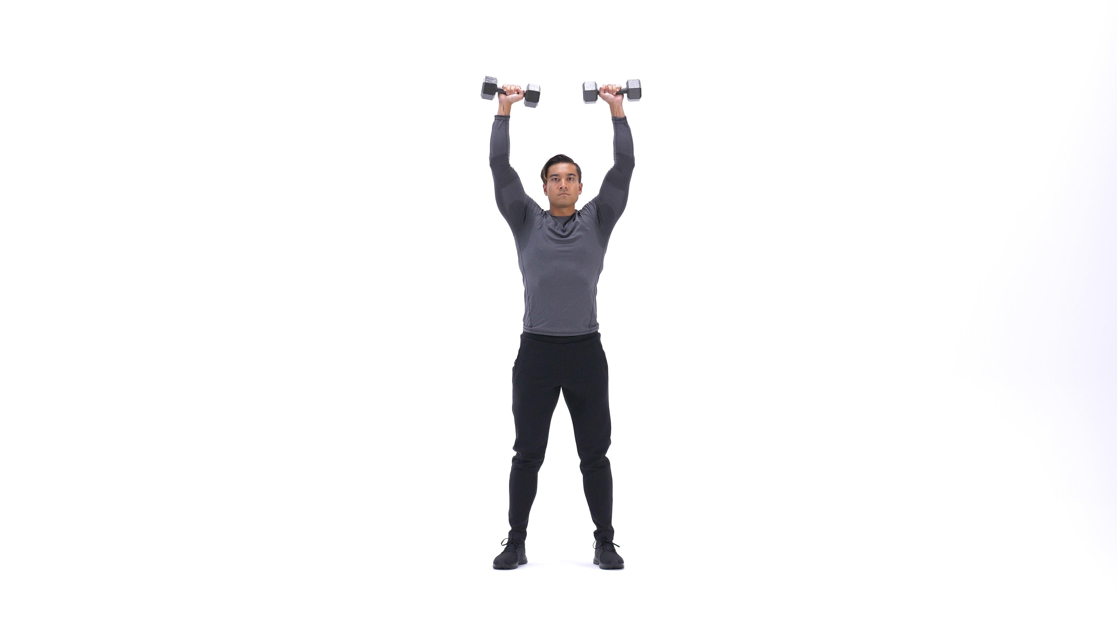 Standing dumbbell shoulder press image