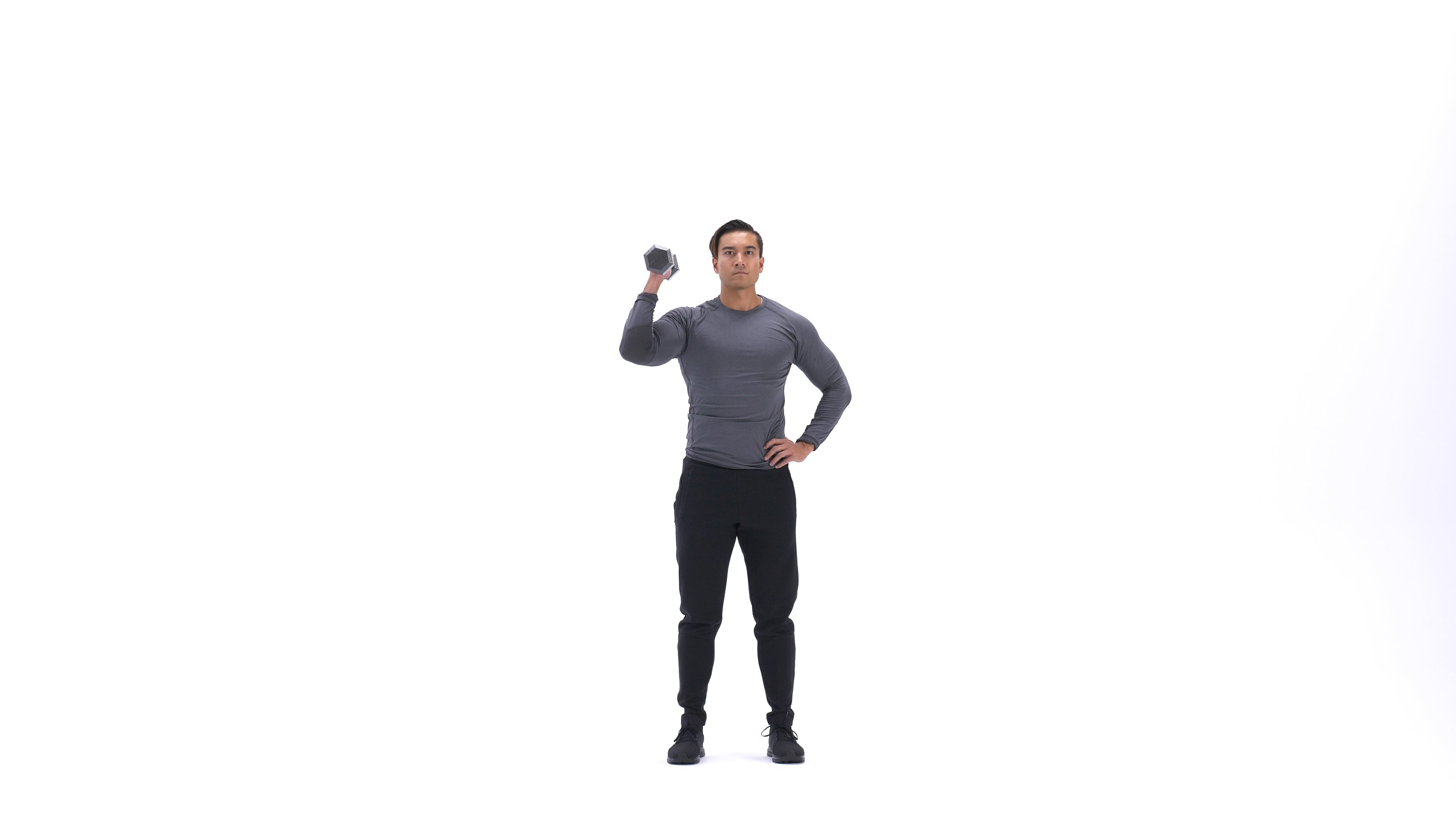 Standing Palm-In One-Arm Dumbbell Press image