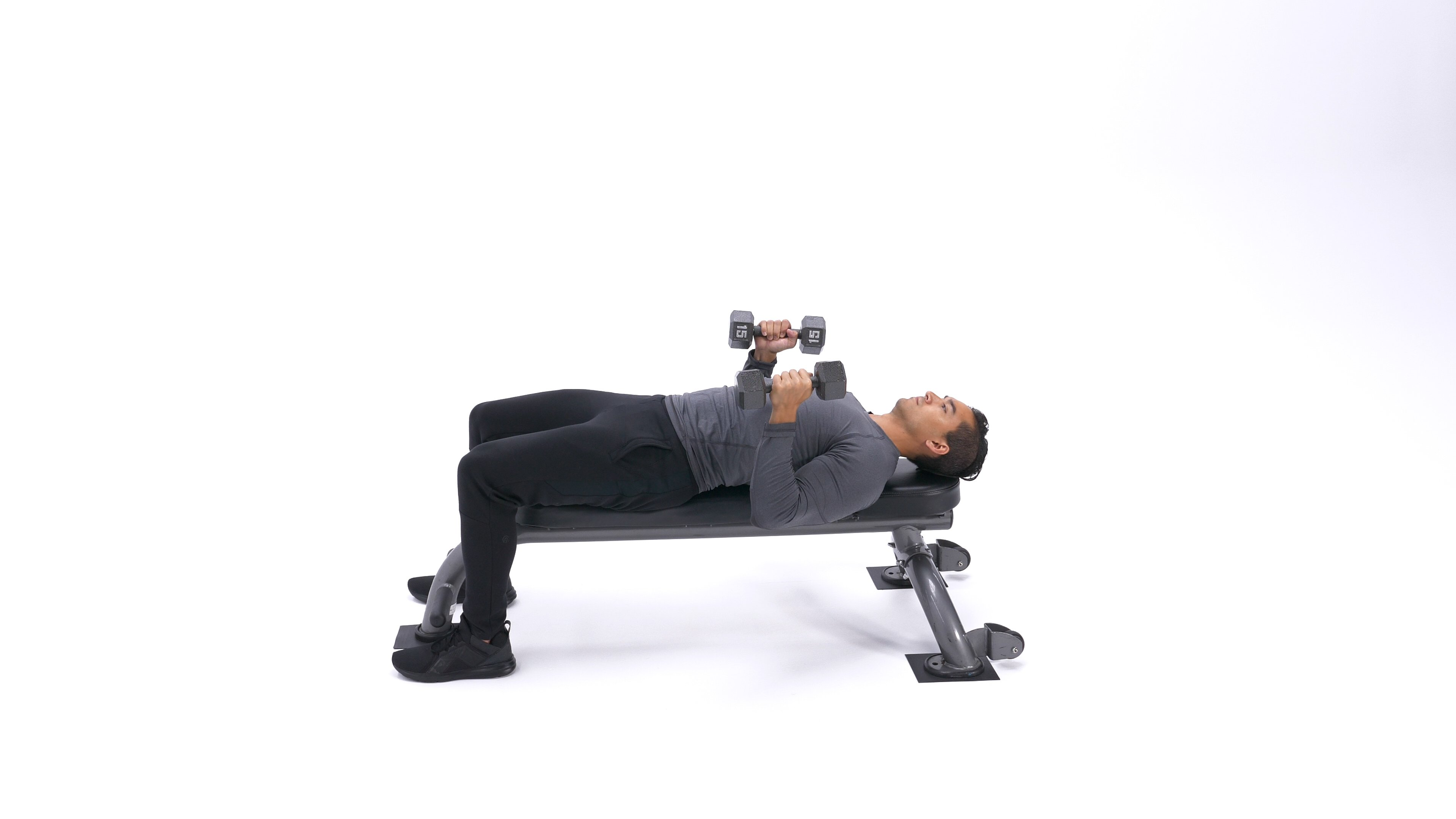 Neutral-grip dumbbell bench press image