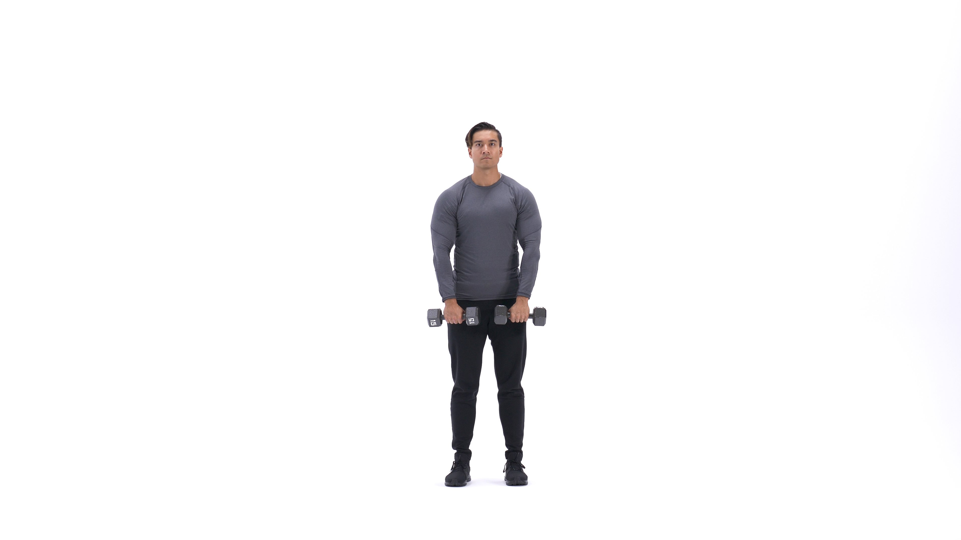 Standing dumbbell upright row image