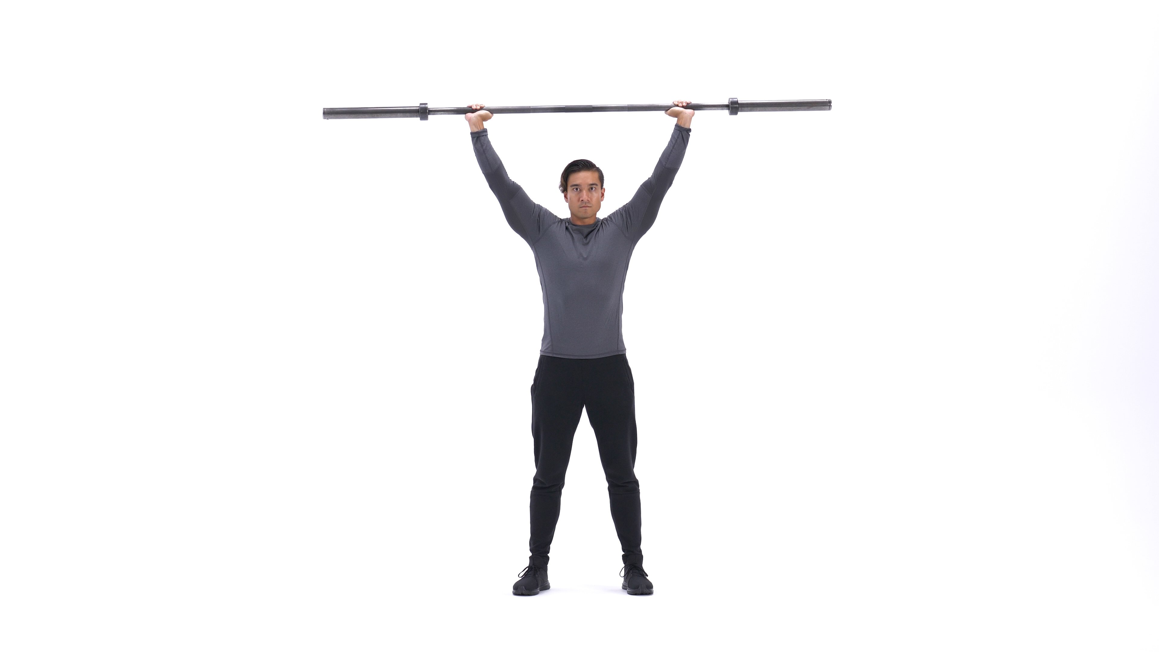 Standing Barbell Press Behind Neck image