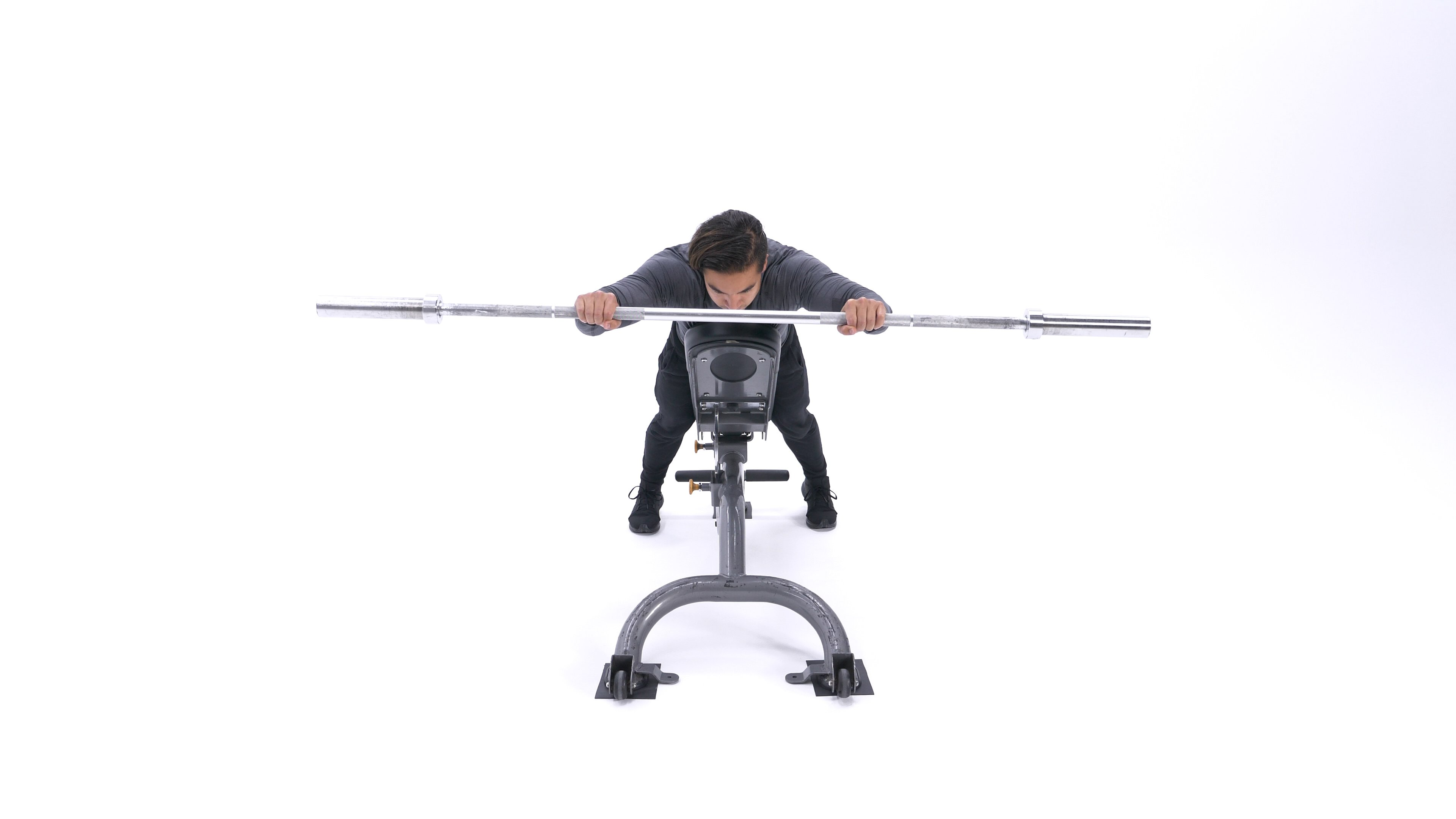 Incline face-down bar front raise image