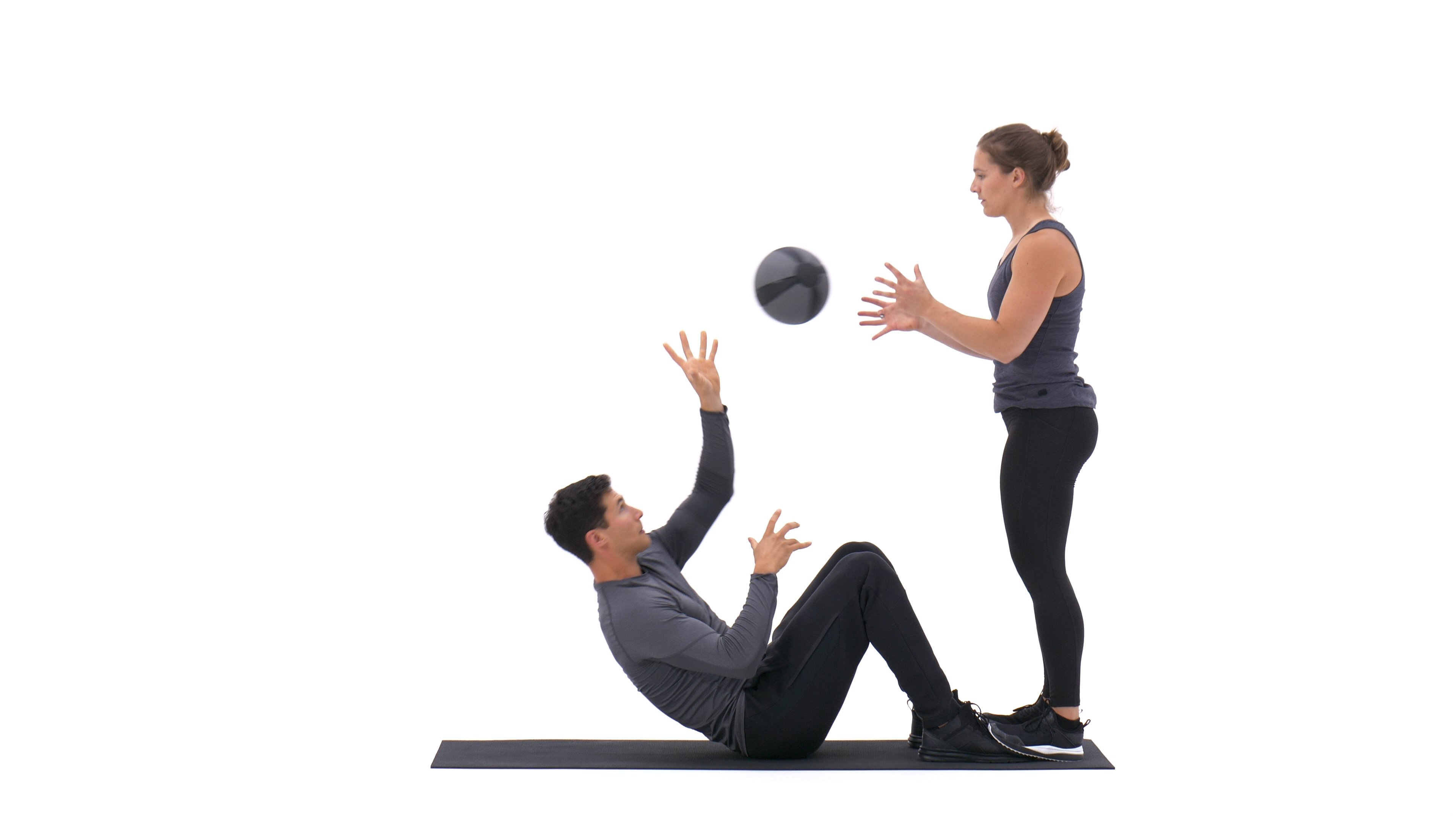 Sit-up with single-arm overhand throw image