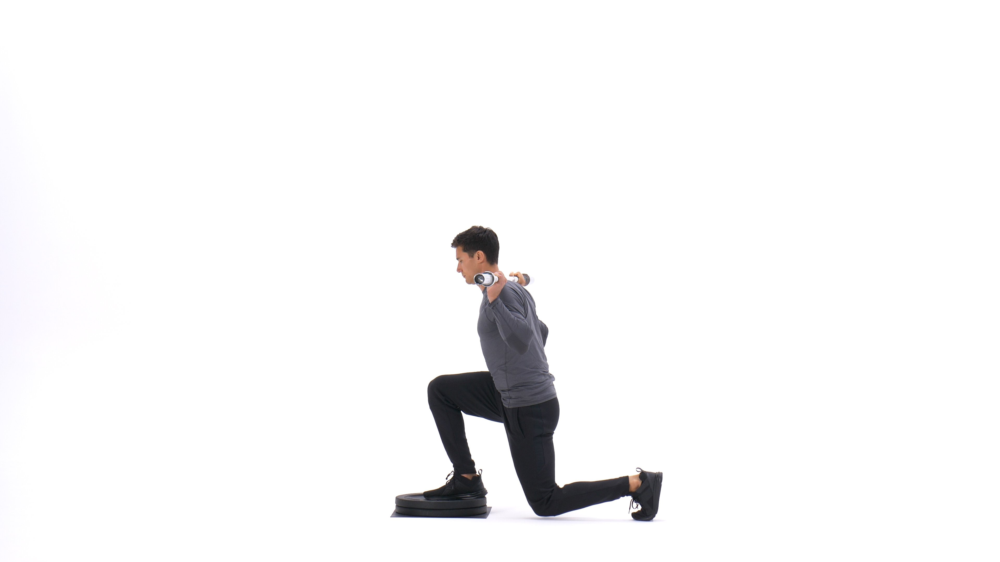 Barbell step-down reverse lunge image