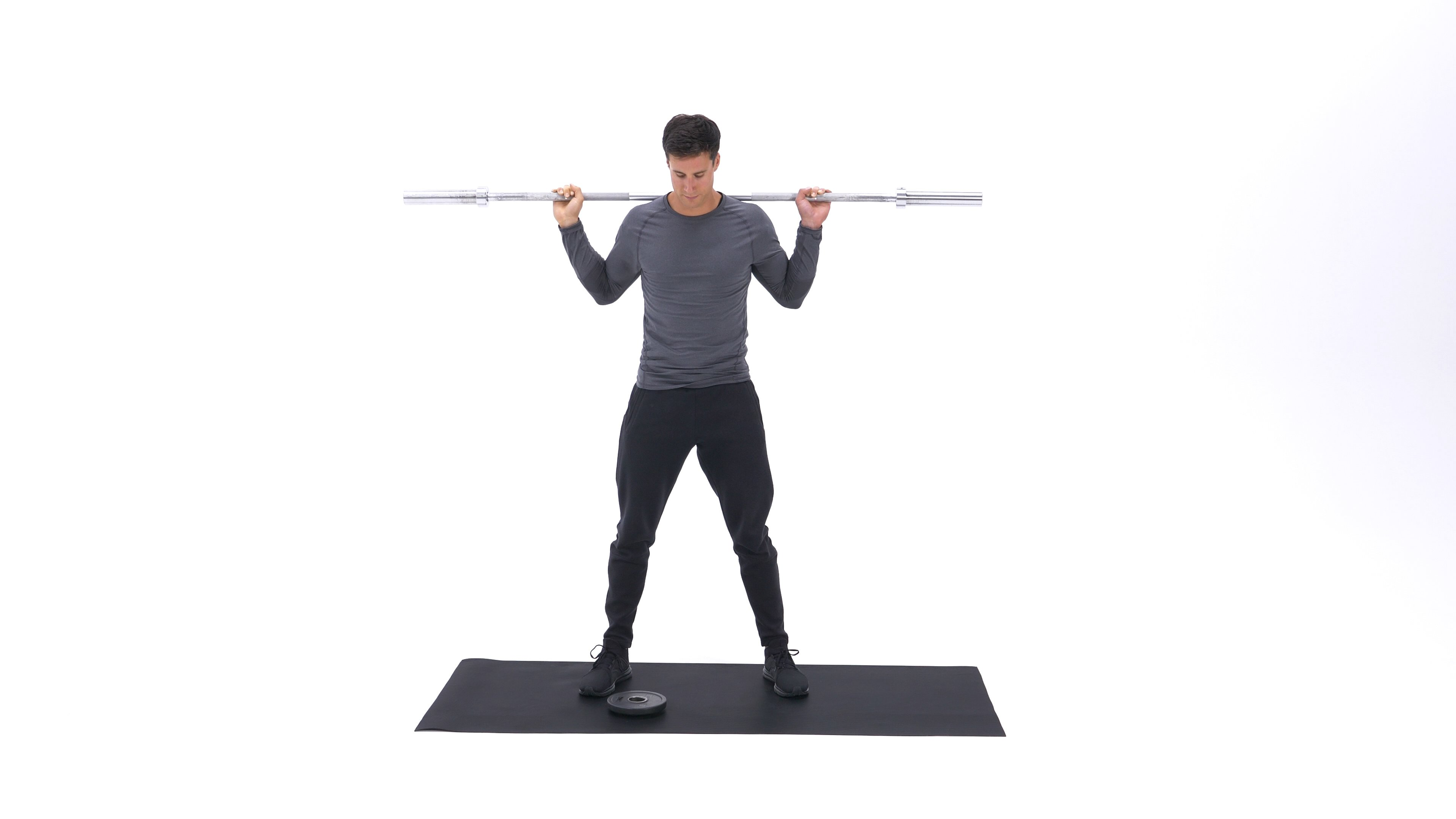 Barbell squat with plate slide image
