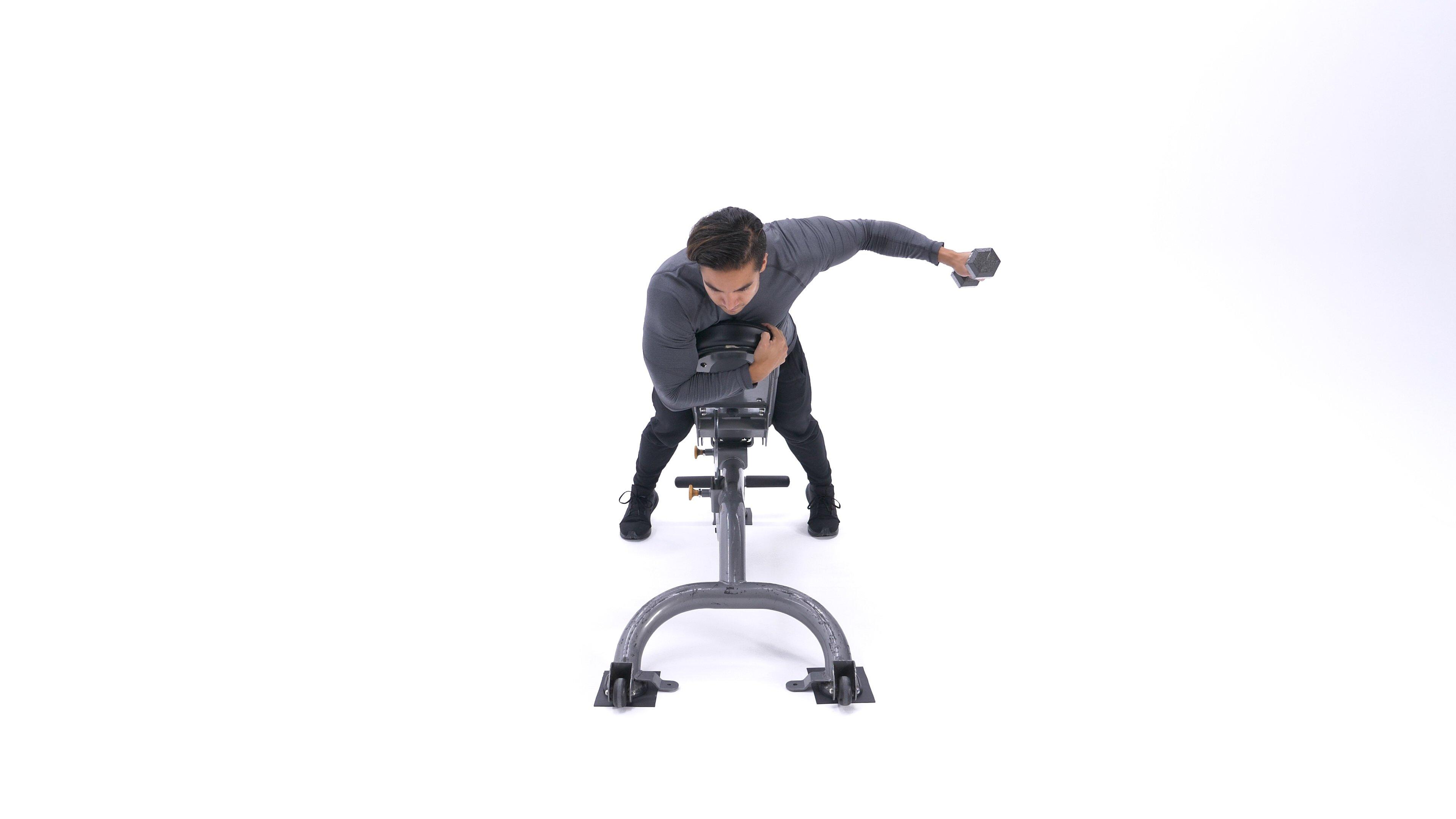 Single-arm incline rear delt raise image