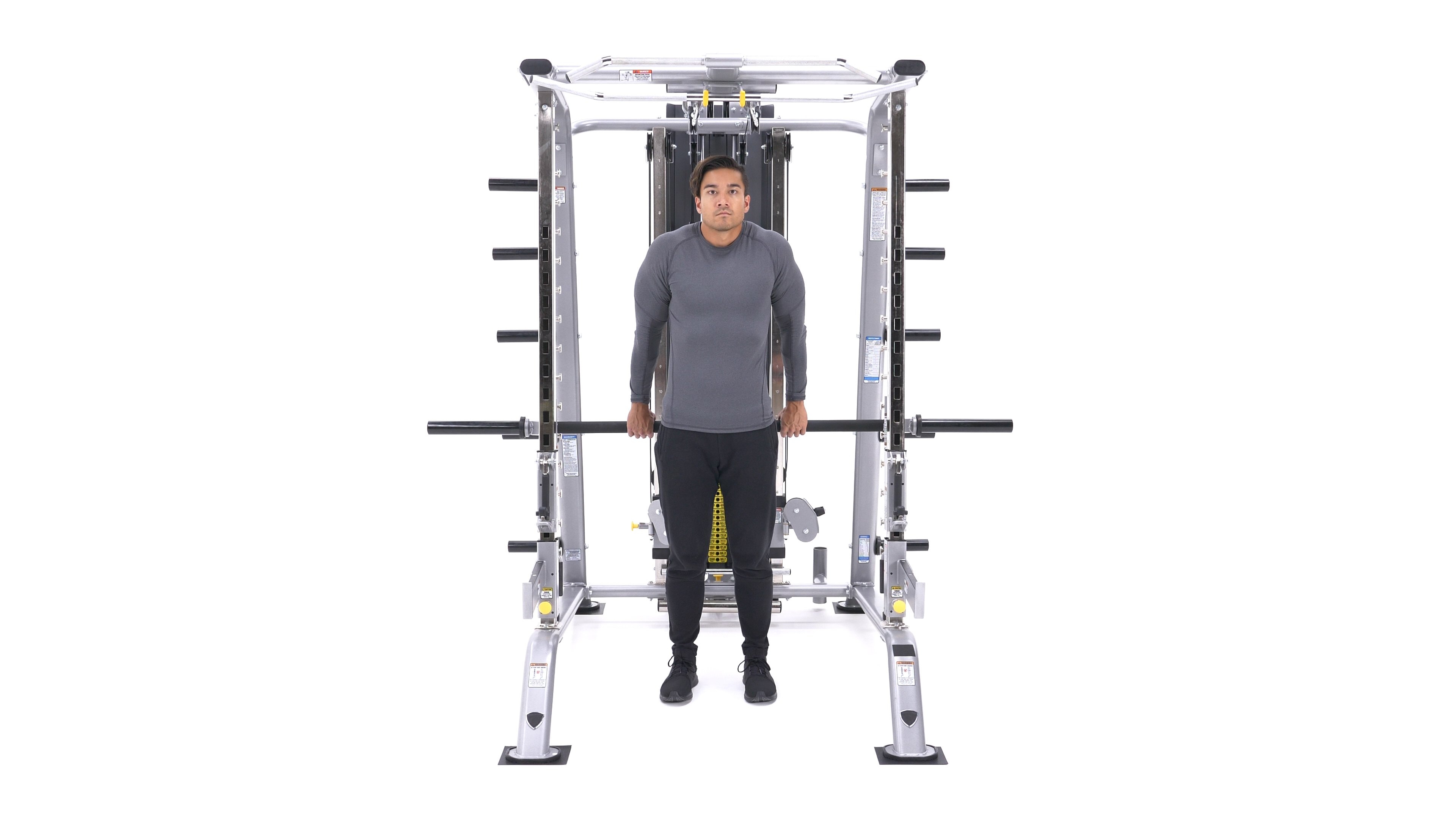Smith machine behind-the-back shrug image