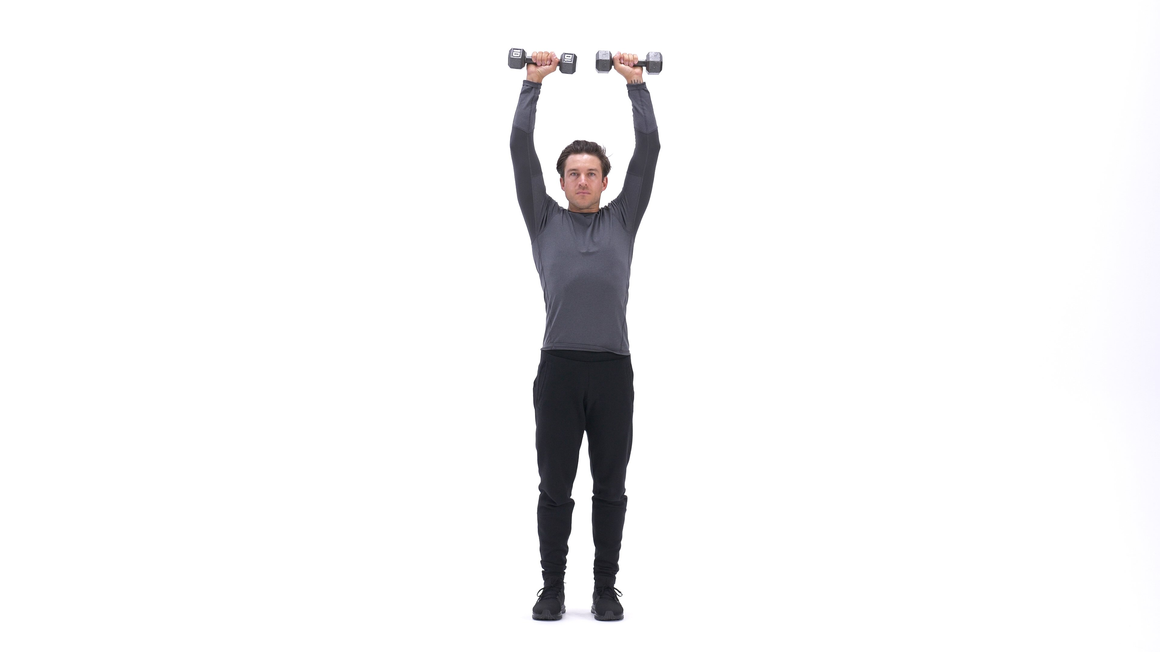 Standing Dumbbell Straight-Arm Front Delt Raise Above Head image
