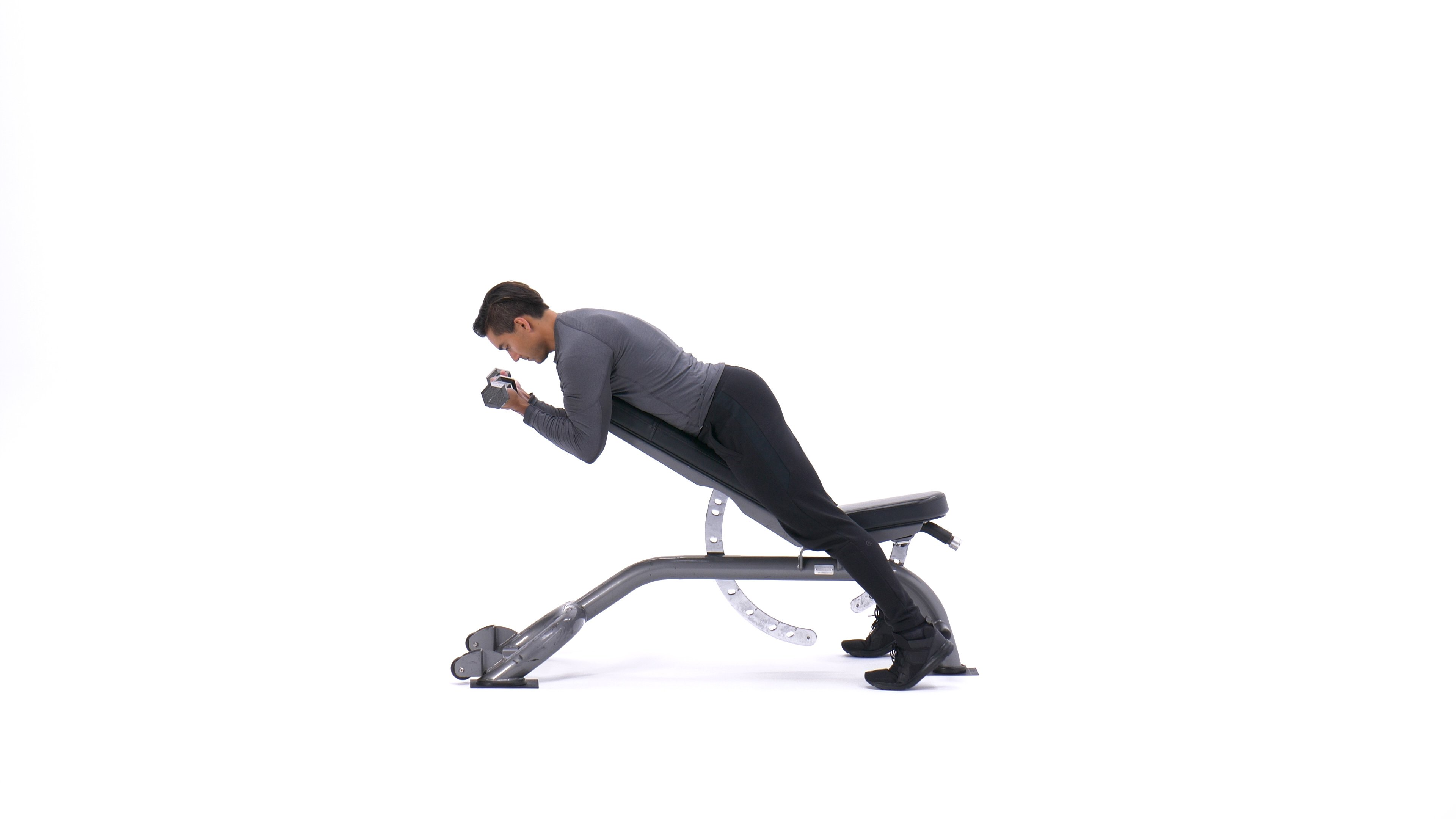 Face-down incline dumbbell biceps curl image