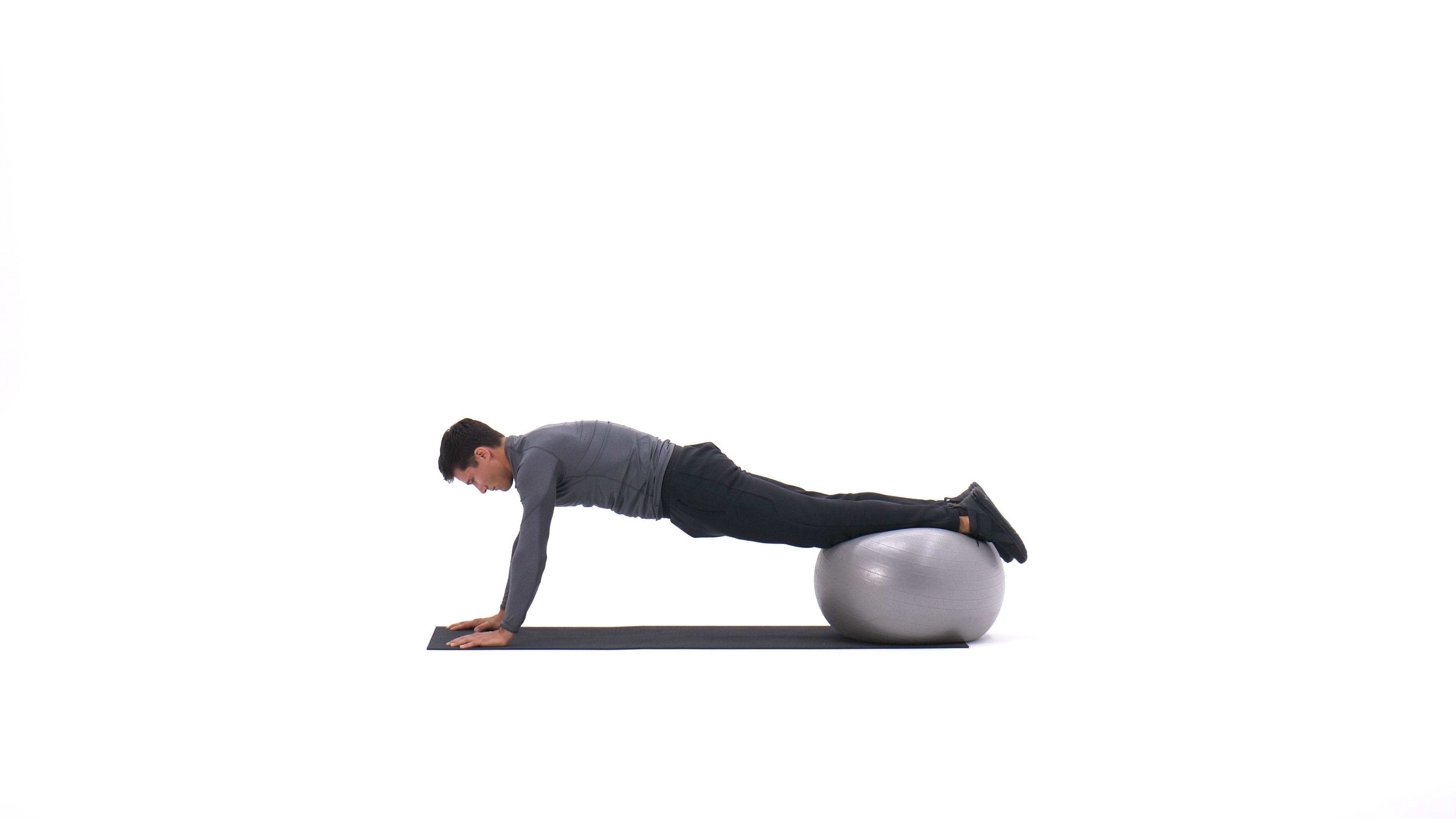 Exercise ball knee roll-in image