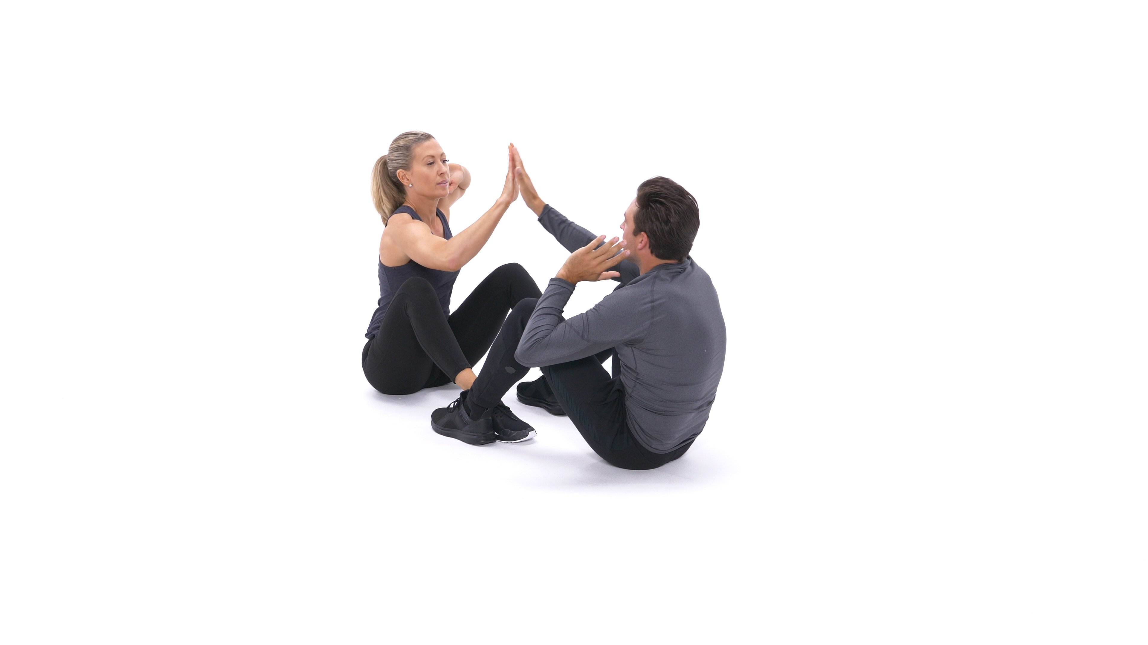 Partner sit-up with high-five- image