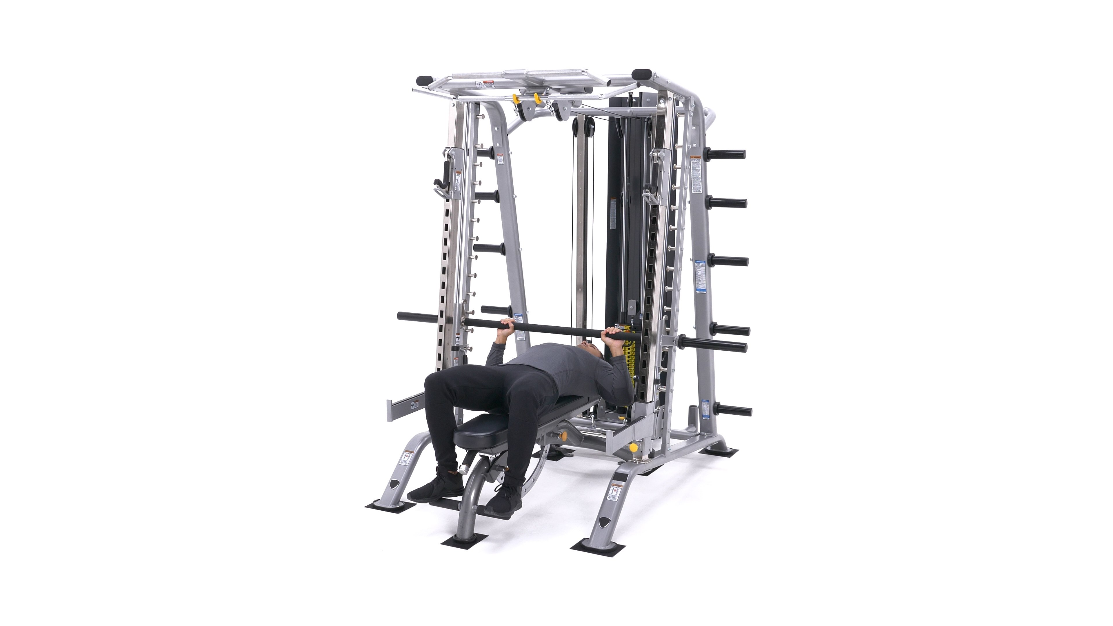 Smith machine bench press throw image