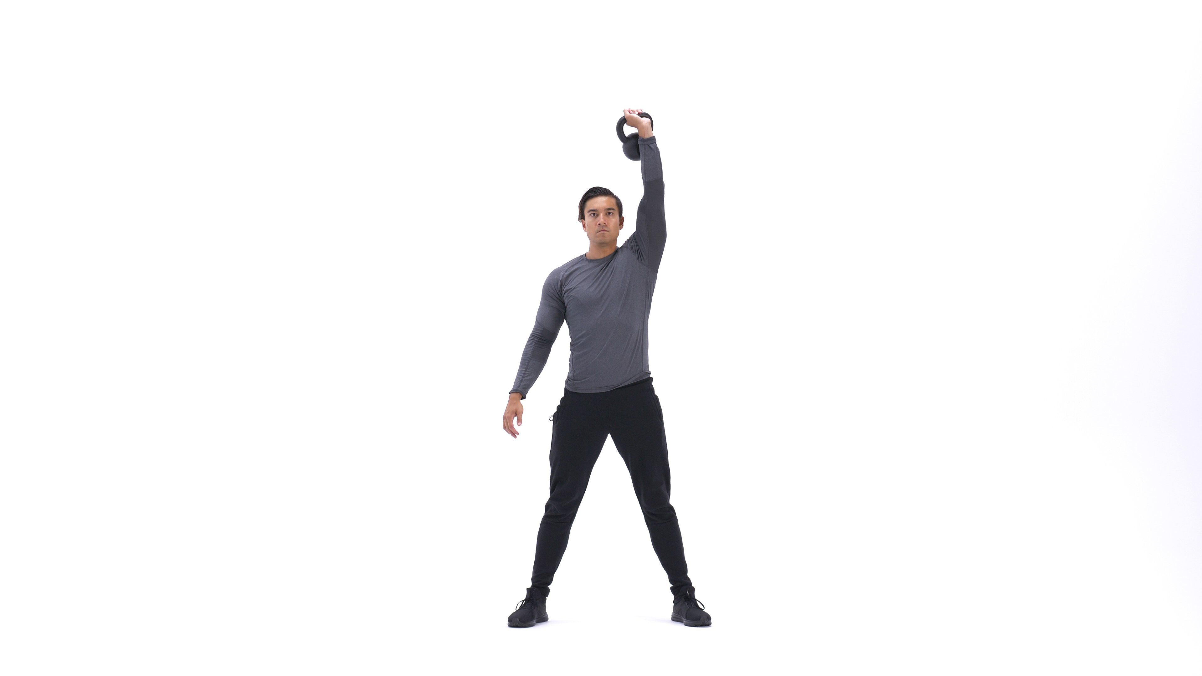 Single Arm Overhead Kettlebell Squat image