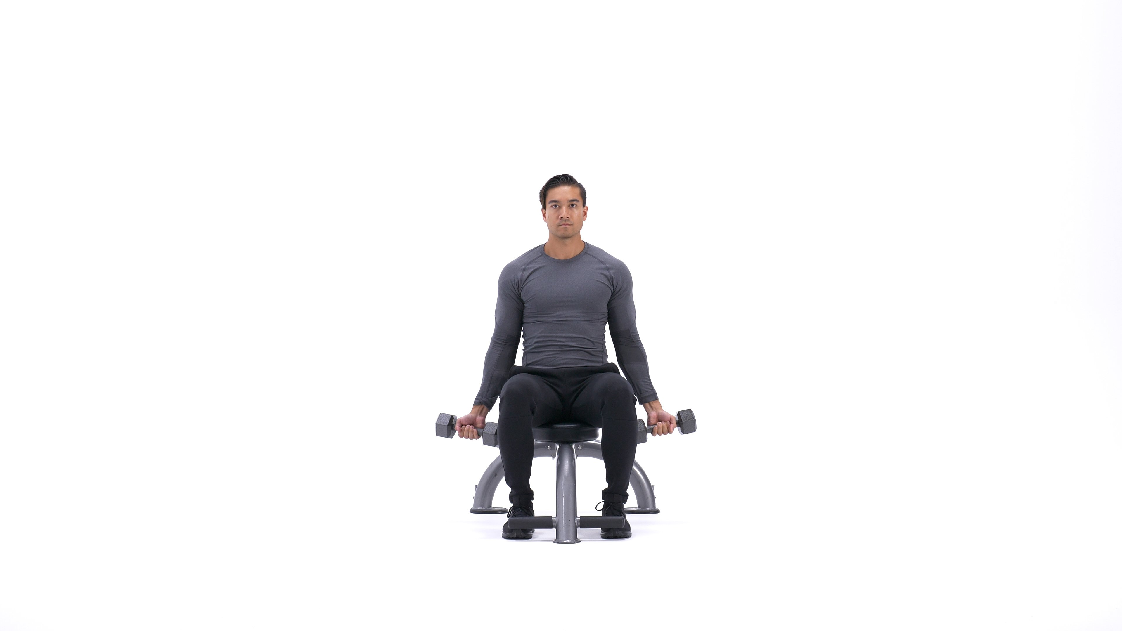 Seated dumbbell biceps curl image