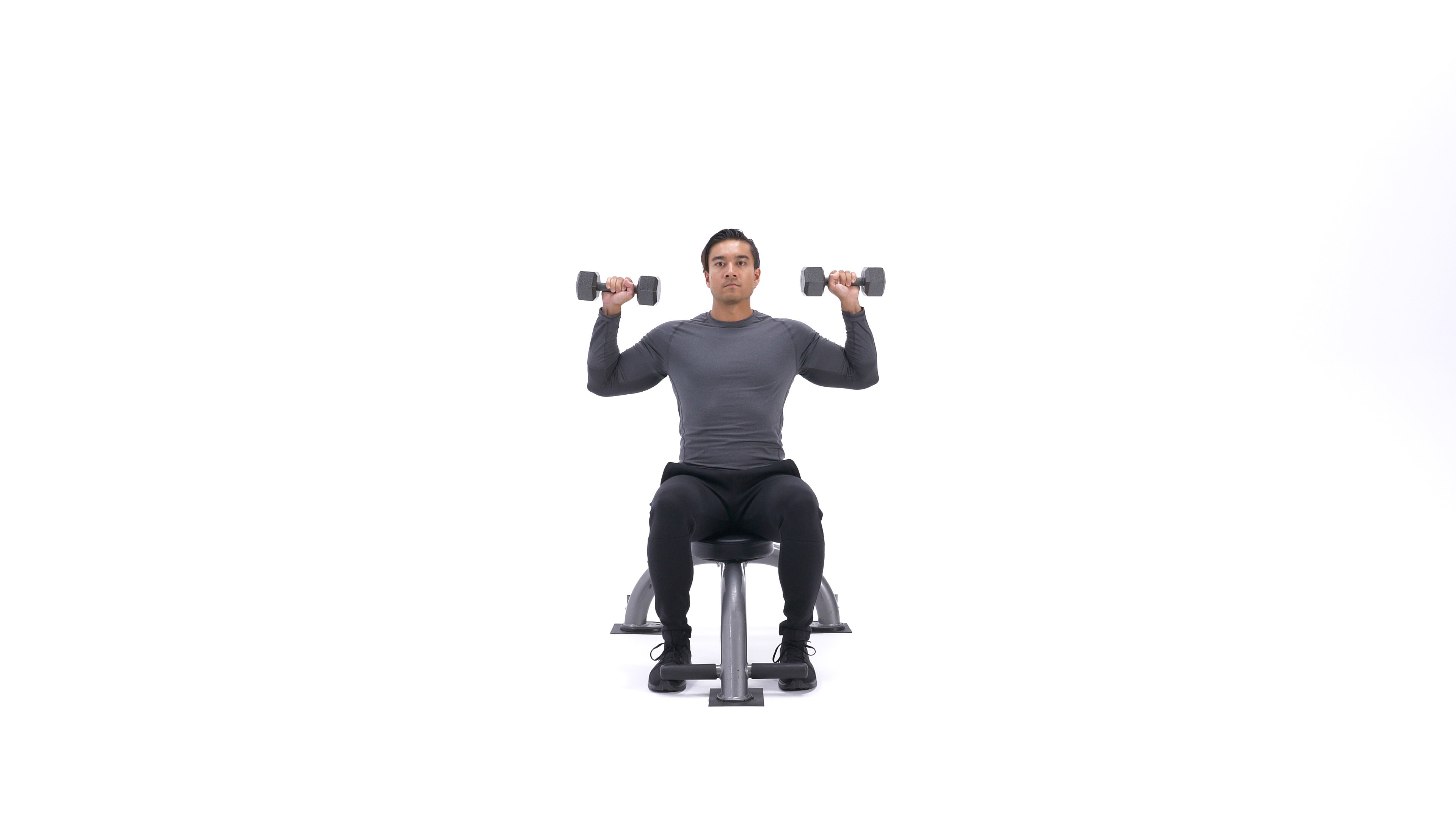 Seated dumbbell shoulder press image