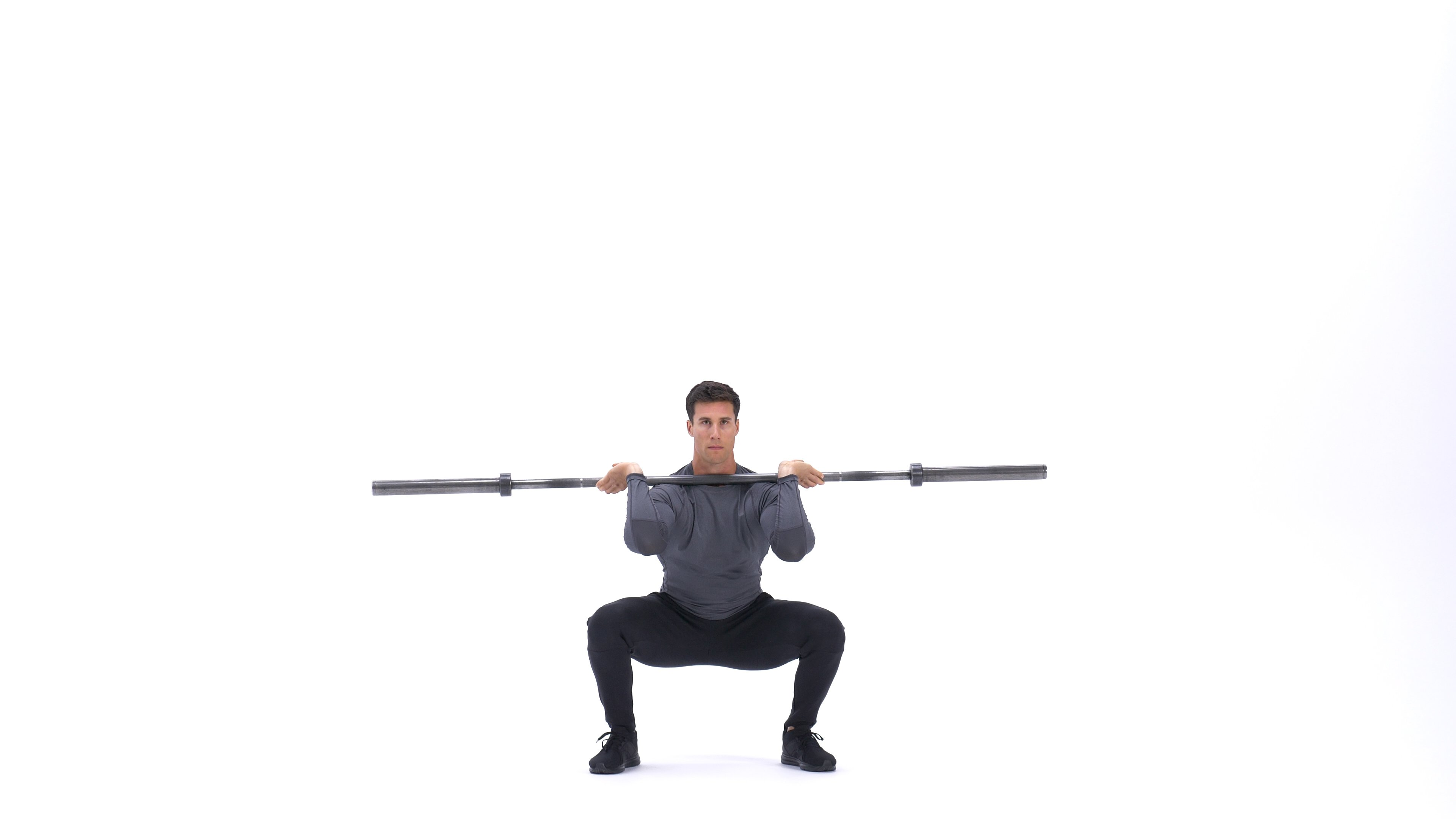 Barbell front squat to back squat image