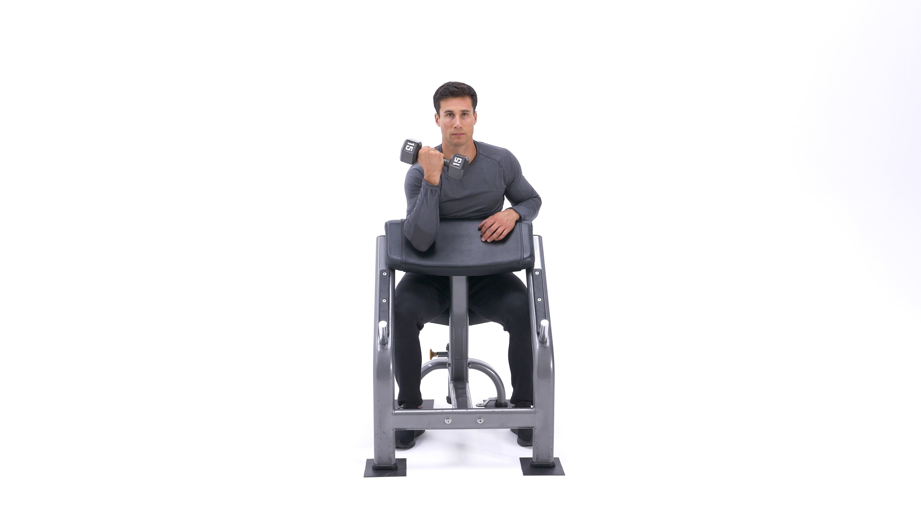 Single-arm dumbbell preacher curl image