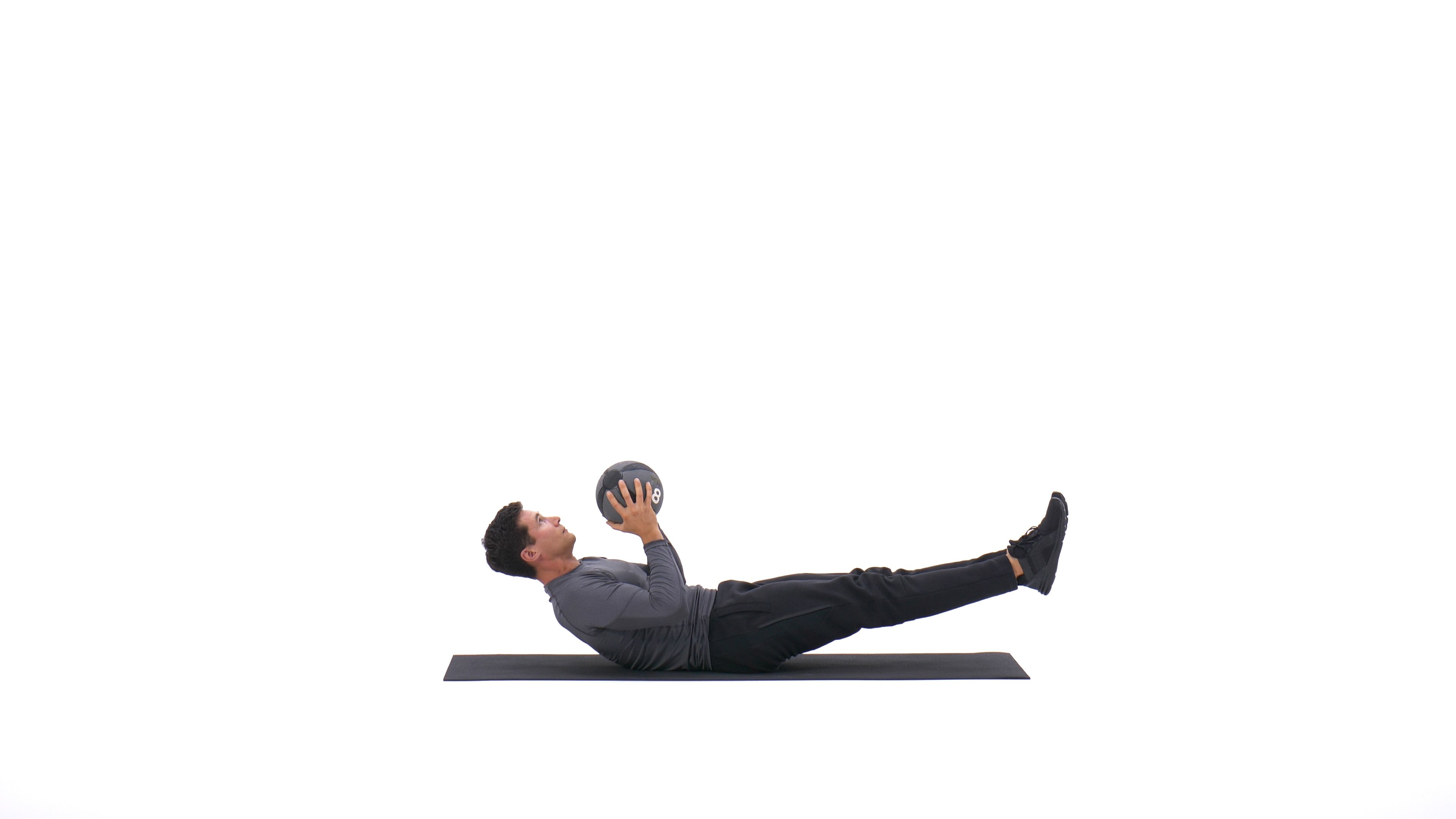 V-Sit Lying Down Ball Throw And Catch image